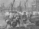 THE RIVER THAMES. On the Thames at low water. London c1880 old antique print